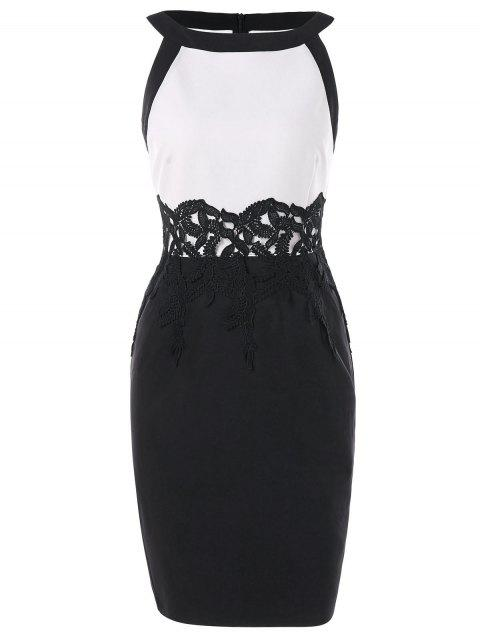 Two Tone Lace Panel Pencil Dress - BLACK M