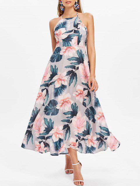 Floral Print Sleeveless Maxi Dress - multicolor S