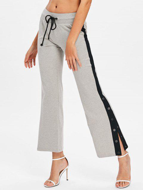 Color Trim Button Side Casual Ninth Pants - GRAY M