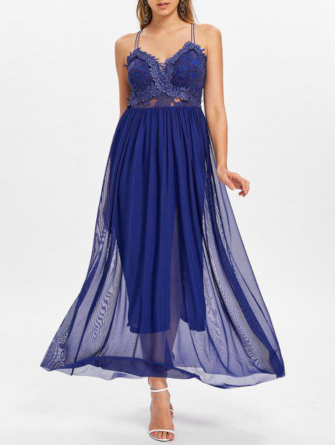 Applique Dress with Chiffon Overlay