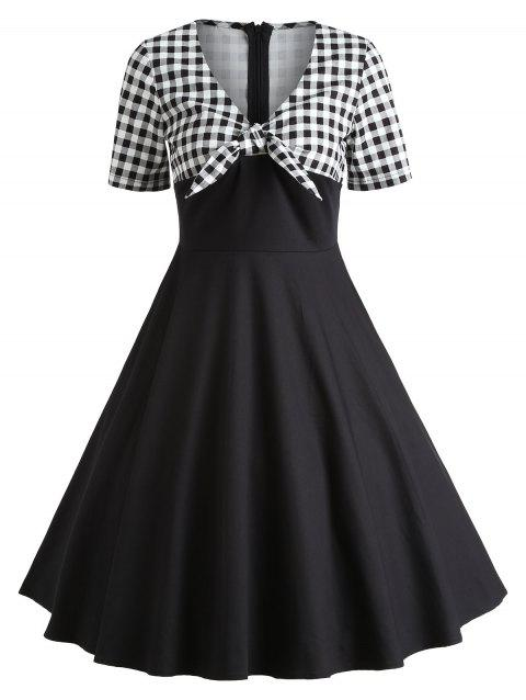 Vintage Checked Fit and Flare Dress - BLACK S