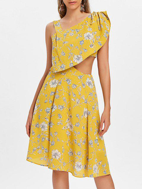 Cut Out Print Knee Length Dress - YELLOW S