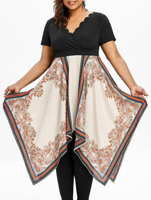 Plunge Plus Size Printed Asymmetrical Dress - COLORMIX 5XL
