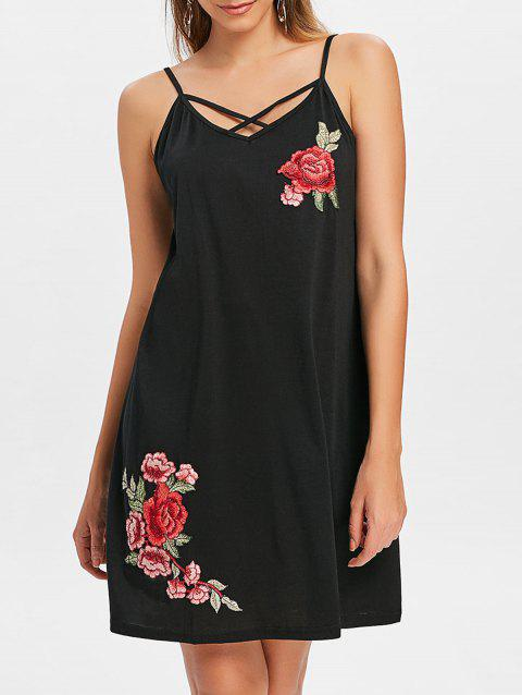 Criss Cross Embroidered Swing Dress - BLACK XL