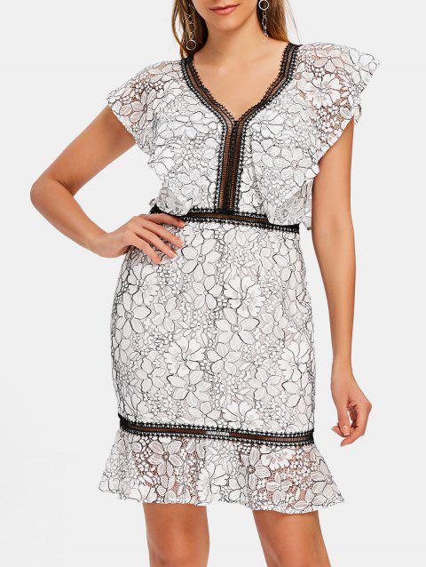V-neck Floral Lace Flounce Dress - WHITE XL