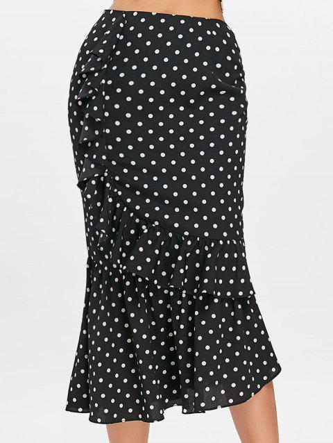 Polka Dot Midi Mermaid Skirt - BLACK XL