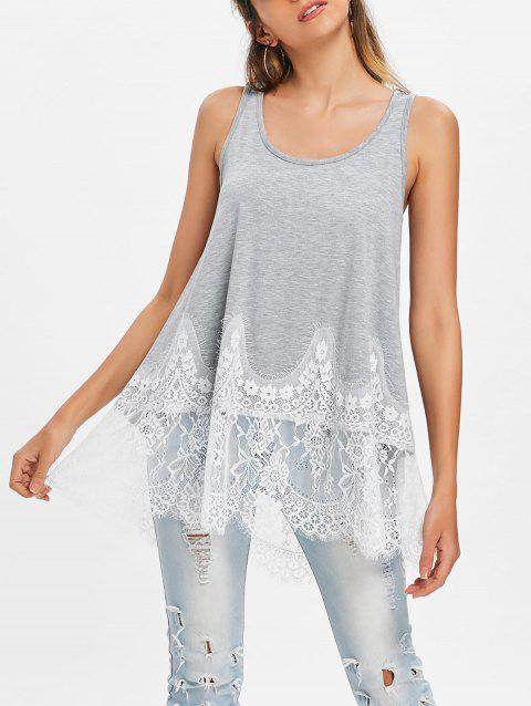 Lace Panel Tunic Tank Top - LIGHT GRAY M