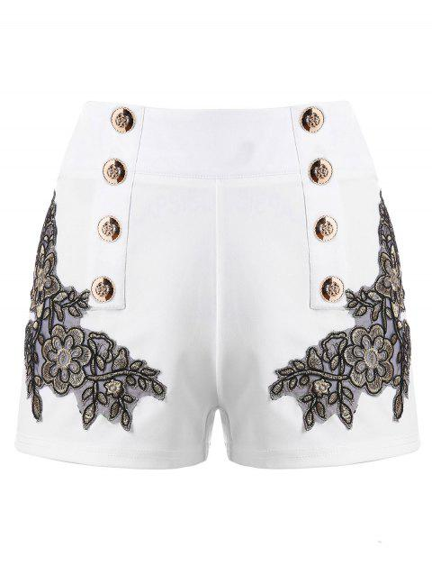 Embroidery Vintage Shorts with Metal Button - MILK WHITE XL