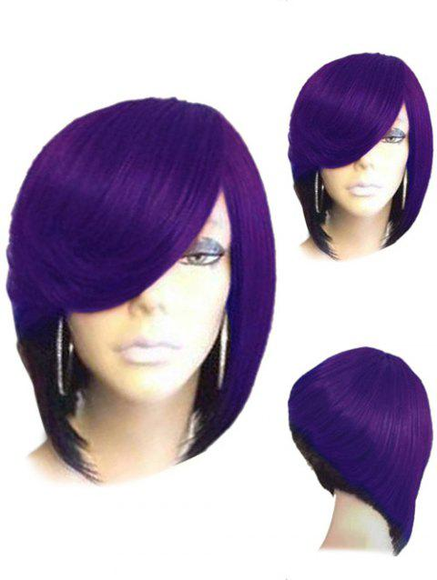 Short Side Parting Straight Colormix Inverted Bob Synthetic Wig - PURPLE