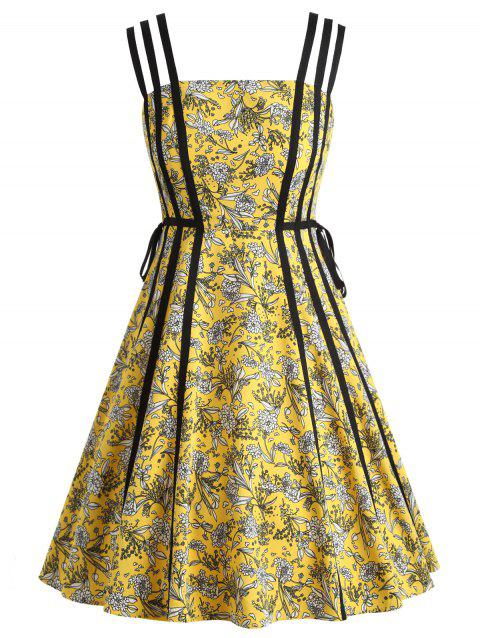 Print Flare Strappy Dress - YELLOW M