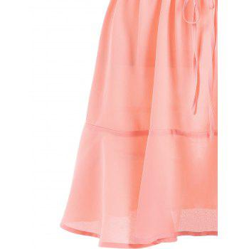 Ruffle Trim Crochet Panel Fluted Dress - LIGHT PINK L