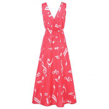 Plunging Neckline Musical Notes Maxi Dress - RED 2XL