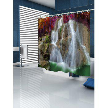 Waterfall Print Fabric Shower Curtain - multicolor W59 INCH * L71 INCH