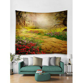 Castle in the Forest Print Tapestry Wall Hanging - multicolor W91 INCH * L71 INCH