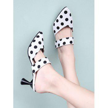 Strange Heel Polka Dot Sweet Mules Shoes - WHITE 39