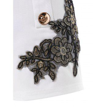Embroidery Vintage Shorts with Metal Button - MILK WHITE L