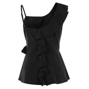 Skew Collar Ruffled T-shirt - BLACK 2XL