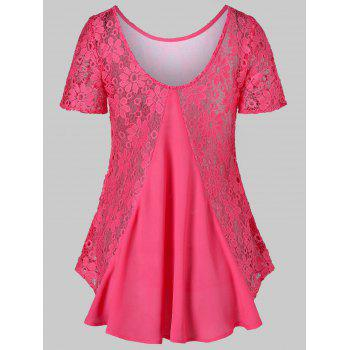 Crochet Insert Short Sleeve T-shirt - ROSE RED 2XL