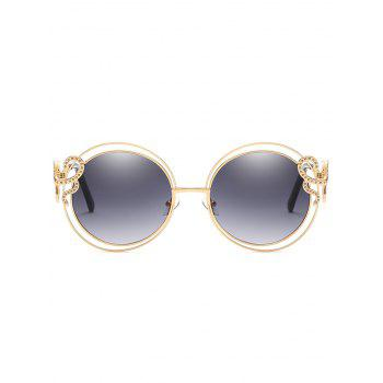 Unique Double Metal Frame Rhinestone Inlaid Sunglasses - SMOKEY GRAY