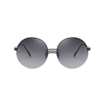 Vintage Rimless Circle Beach Travel Driving Sunglasses - GRAY WOLF