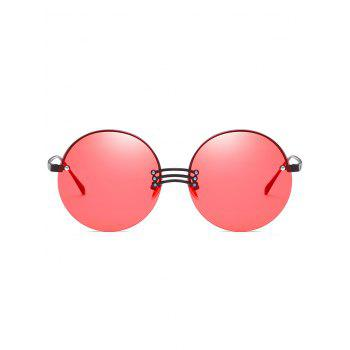 Vintage Rimless Circle Beach Travel Driving Sunglasses - WATERMELON PINK