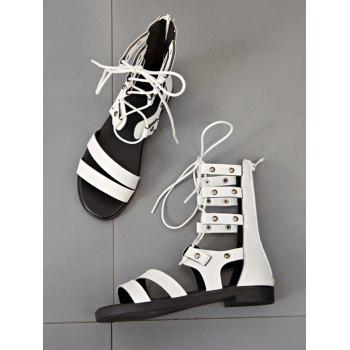 Lace Up Cross Flat Heel Gladiator Shoes - WHITE 37