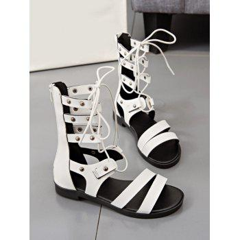 Lace Up Cross Flat Heel Gladiator Shoes - WHITE 39