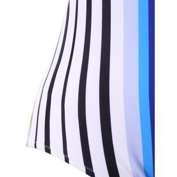 Plus Size Rainbow Stripe Open Back One Piece Swimwear - COLORMIX 3XL