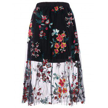 High Rise Embroidered Midi A Line Skirt - BLACK XL