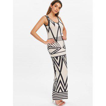 Chevron Print Sleeveless Maxi Dress - BEIGE M
