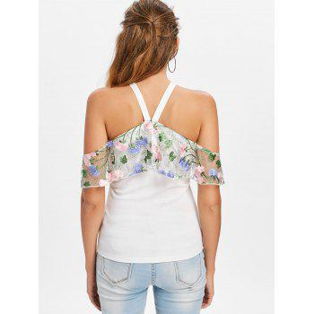 Tiered Flower Embroidery T-shirt - WHITE 2XL