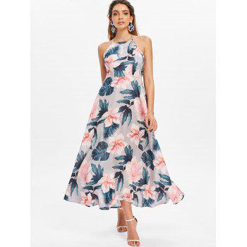 Floral Print Sleeveless Maxi Dress - multicolor L