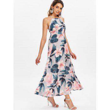 Floral Print Sleeveless Maxi Dress - multicolor 2XL