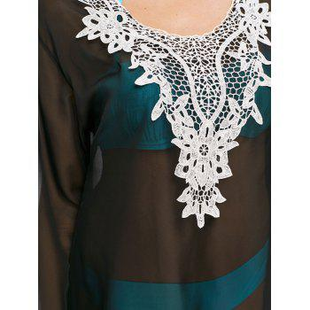 Crochet Applique Flare Sleeve Cover Up - BLACK ONE SIZE