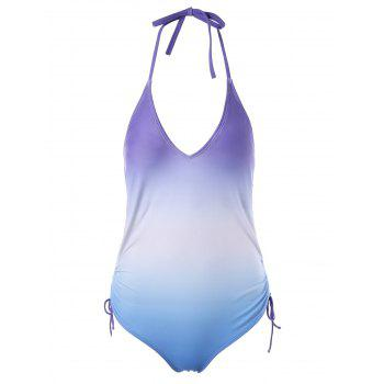 Ombre Halter Open Back One Piece Swimwear - COLORMIX 2XL