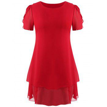 Plus Size Overlay Butterfly Sleeve Dress - RED 4X