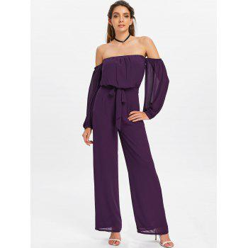 Off Shoulder Palazzo Jumpsuit - PURPLE IRIS L