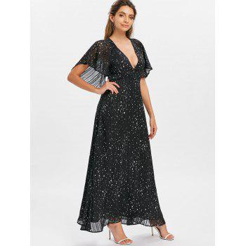 Plunging Neckline Cut Out Printed Maxi Dress - BLACK L