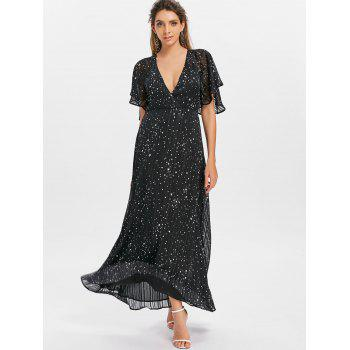 Plunging Neckline Cut Out Printed Maxi Dress - BLACK XL