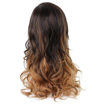 Long Inclined Fringe Colormix Wavy Synthetic Wig - multicolor