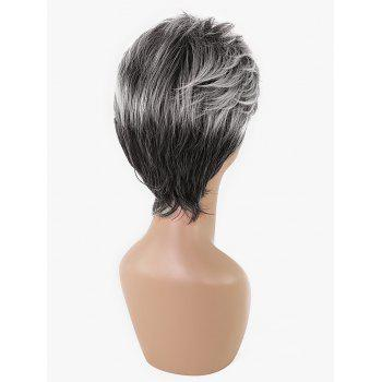 Short Side Bang Colormix Fluffy Straight Synthetic Wig - multicolor