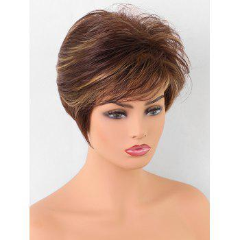 Inclined Bang Short Colormix Straight Synthetic Wig - multicolor