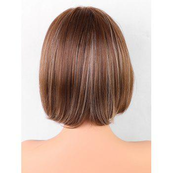Medium Inclined Bang Colormix Straight Bob Synthetic Wig - multicolor