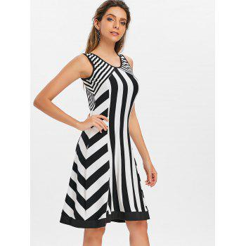 Open Back Striped Knee Length Dress - multicolor M