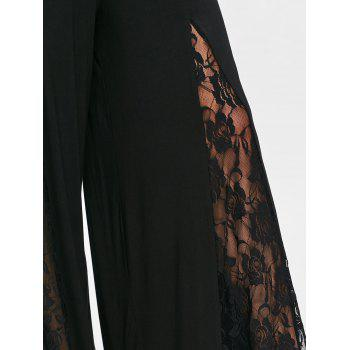 Lace Panel Chunky Waist Palazzo Pants - BLACK 2XL