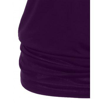 Shoulder Cut Lacerated Sleeve T-shirt - PURPLE IRIS M