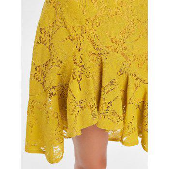 Flounce Asymmetric Lace Skirt - BEE YELLOW S