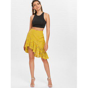 Flounce Asymmetric Lace Skirt - BEE YELLOW M