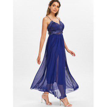 Applique Dress with Chiffon Overlay - DEEP BLUE M