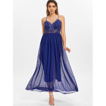 Applique Dress with Chiffon Overlay - DEEP BLUE L